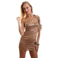 ELEGANT SHINING ONE-ARMED MINIDRESS PARTY DRESS BEIGE