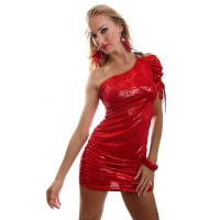 ELEGANT SHINING ONE-ARMED MINIDRESS PARTY DRESS RED