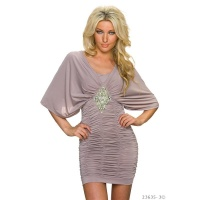ELEGANT PARTY MINIDRESS WITH KIMONO SLEEVES TAUPE