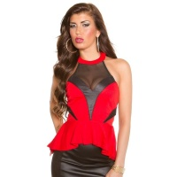ELEGANT PARTY HALTERNECK-TOP WITH PEPLUM RED