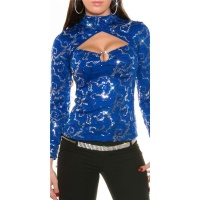 ELEGANT LONG-SLEEVED PARTY SHIRT IN BOLERO LOOK WITH SEQUINS BLUE