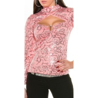 ELEGANTES PARTY SHIRT IN BOLERO-LOOK MIT PAILLETTEN LACHS
