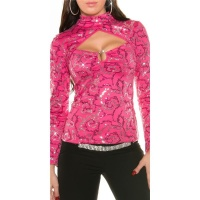 ELEGANTES PARTY SHIRT IN BOLERO-LOOK MIT PAILLETTEN PINK