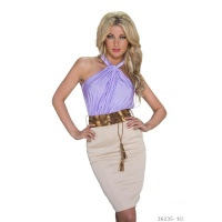 ELEGANT PENCIL DRESS EVENING DRESS WITH BELT LILAC/BEIGE