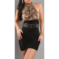 SEXY PENCIL DRESS MINIDRESS WITH BELT BLACK/LEO-BROWN