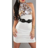 SEXY PENCIL DRESS MINIDRESS WITH BELT WHITE/LEO-BROWN