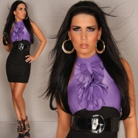 GLAMOROUS PENCIL DRESS BLACK/PURPLE