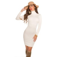 ELEGANT RIB-KNITTED MINI DRESS WITH TURTLE NECK CHAMPAGNE