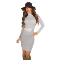 ELEGANT RIB-KNITTED MINIDRESS WITH TURTLE NECK LIGHT GREY