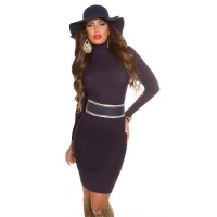 ELEGANT RIB-KNITTED MINIDRESS WITH TURTLE NECK NAVY