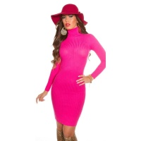 ELEGANT RIB-KNITTED MINIDRESS WITH TURTLE NECK FUCHSIA