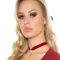 ELEGANT VELVET NECKBAND CHOKER WITH ARTIFICIAL PEARL WINE-RED