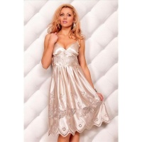 ELEGANT SATIN EVENING DRESS WITH EMBROIDERY BEIGE