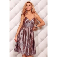 ELEGANT SATIN EVENING DRESS WITH EMBROIDERY BROWN UK 12