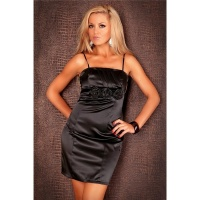 ELEGANT SATIN EVENING DRESS SHIFT DRESS BLACK