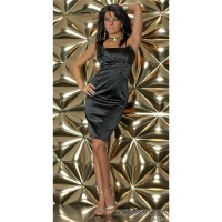 GLAMOROUS SATIN EVENING DRESS BLACK