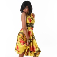 PRECIOUS SATIN HALTERNECK EVENING DRESS WITH LACE YELLOW