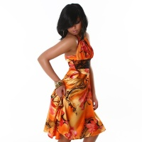 PRECIOUS SATIN HALTERNECK EVENING-DRESS WITH LACE ORANGE UK 10