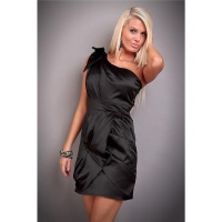 ELEGANT ONE-SHOULDER SATIN EVENING DRESS SHIFT DRESS BLACK UK 10 (S)
