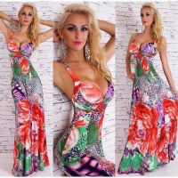 ELEGANT FLOOR-LENGTH SUMMER MAXI DRESS WITH FLORAL DESIGN RED/GREEN