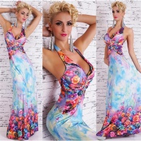 ELEGANT FLOOR-LENGTH SUMMER MAXI DRESS WITH FLORAL PATTERN BLUE UK 8/10 (S/M)