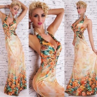 ELEGANT FLOOR-LENGTH SUMMER MAXI DRESS WITH FLORAL PATTERN ORANGE