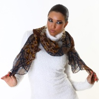 ELEGANT SUMMER RAG SCARF BEACH WRAP PAREO LEO-LOOK BROWN