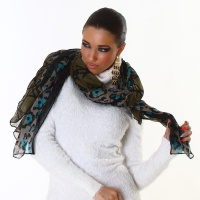 ELEGANT SUMMER RAG SCARF BEACH WRAP PAREO LEO-LOOK GREEN