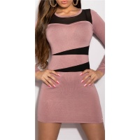 ELEGANT KNITTED DRESS WITH TRANSPARENT CHIFFON ANTIQUE PINK/BLACK