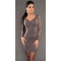 ELEGANT KNITTED MINIDRESS WITH CROCHET LACE CAPPUCCINO