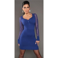 ELEGANT KNITTED MINIDRESS WITH CROCHET LACE ROYAL BLUE