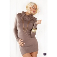 ELEGANT KNITTED MINIDRESS WITH ARTIFICIAL FUR LATTE MACCHIATO UK 12/14 (L/XL)