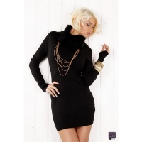 ELEGANT KNITTED MINIDRESS WITH ARTIFICIAL FUR BLACK