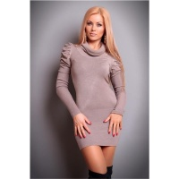 ELEGANT KNITTED MINIDRESS WITH PUFF SLEEVES CAPPUCCINO