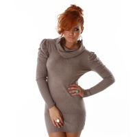 ELEGANT KNITTED MINIDRESS WITH PUFF SLEEVES LATTE MACCHIATO