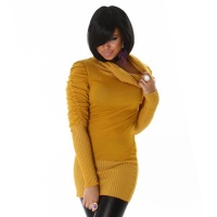 ELEGANT KNITTED MINIDRESS WITH RUFFLES OCHRE YELLOW