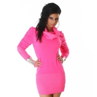 ELEGANT KNITTED MINIDRESS WITH RUFFLES FUCHSIA