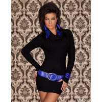 ELEGANT KNITTED MINIDRESS WITH TURTLENECK COLLAR BLACK