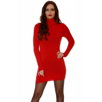 ELEGANT FINE-KNITTED MINIDRESS/LONG POLO-NECK SWEATER RED