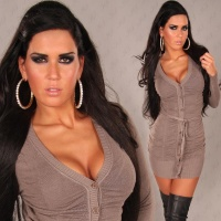 ELEGANT KNITTED MINIDRESS WITH BELT CAPPUCCINO