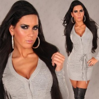 ELEGANT KNITTED MINIDRESS WITH BELT GREY