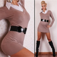 SEXY KNITTED MINIDRESS WITH BLOUSE-INSET CAPPUCCINO