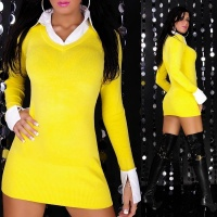 SEXY KNITTED MINIDRESS WITH BLOUSE INSET YELLOW