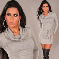 ELEGANT KNITTED MINIDRESS WITH TURTLENECK COLLAR GREY