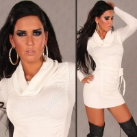ELEGANT KNITTED MINIDRESS WITH TURTLENECK COLLAR WHITE