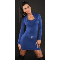 ELEGANT KNITTED MINIDRESS WITH RHINESTONE-BUCKLE BLUE