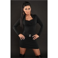 ELEGANT KNITTED MINIDRESS WITH RHINESTONE-BUCKLE BLACK Onesize (UK 8,10,12)