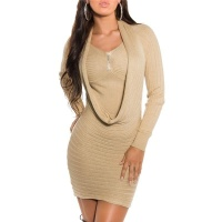 ELEGANT KNITTED MINIDRESS WITH RHINESTONES AND GLITTER BEIGE