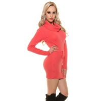 ELEGANT KNITTED MINIDRESS WITH AMPLE TURN-DOWN COLLAR CORAL