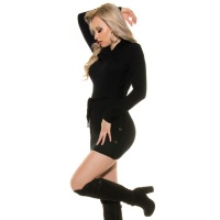 ELEGANT KNITTED MINIDRESS WITH AMPLE TURN-DOWN COLLAR BLACK